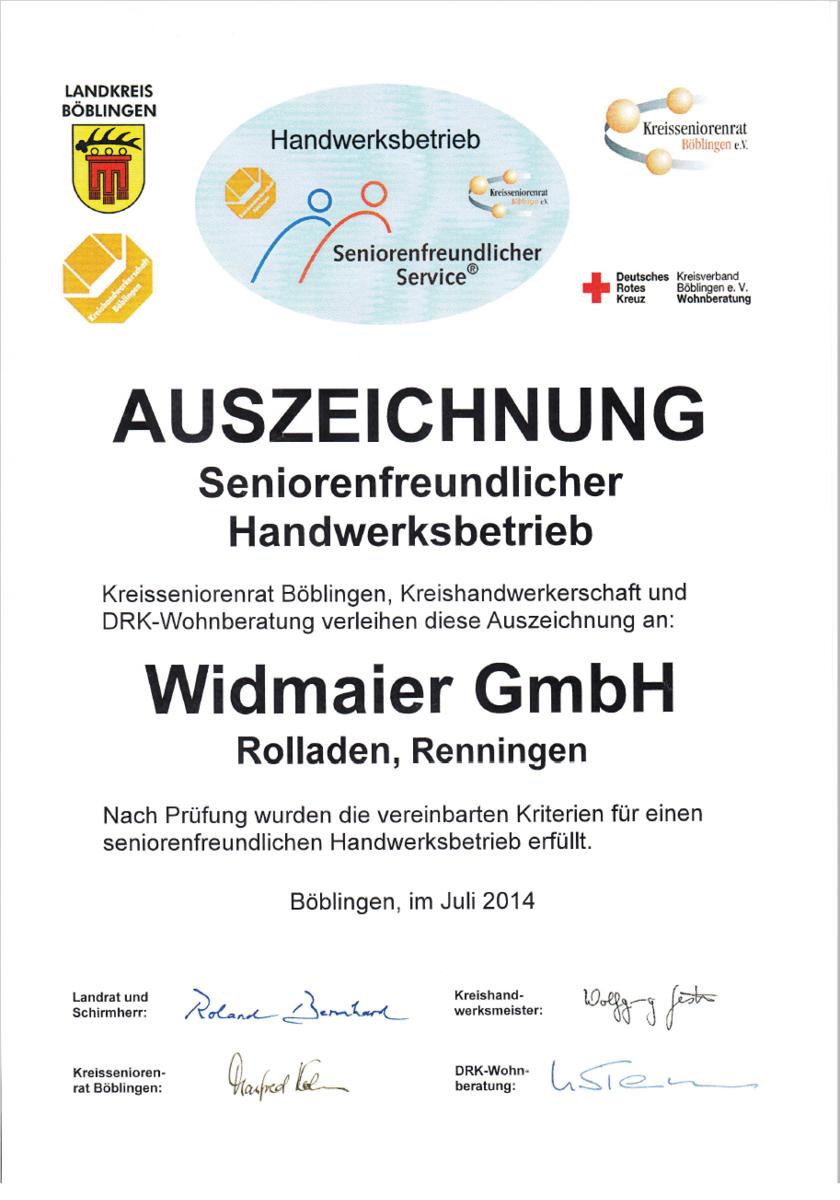 Zertifikat seniorenfreundlicher Handwerksbetrieb
